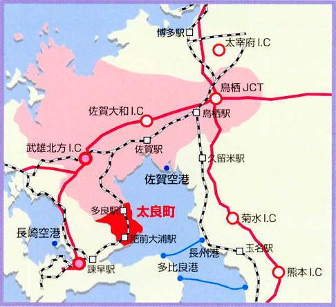 佐賀県太良町の位置